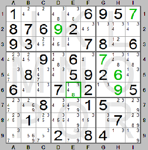 Single candidate in Sudoku puzzle with kandidate table made by the Sudoku  Instructions program