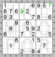 Step 2 in solving Sudoku puzzle made by the Sudoku Instructions program