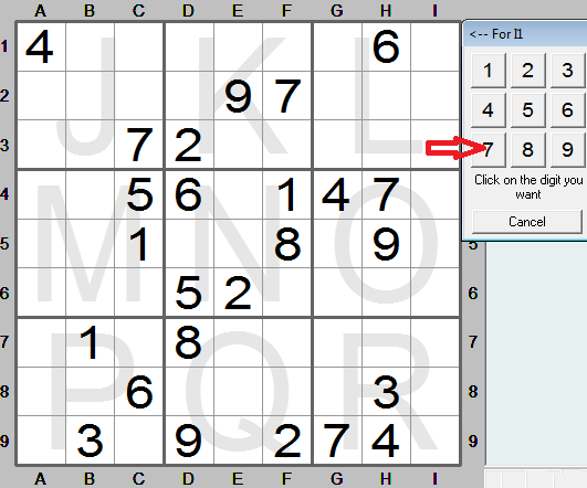 click digit to enter in sudoku instructions program