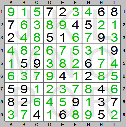 completely solved sudoku puzzle in sudoku instructions program