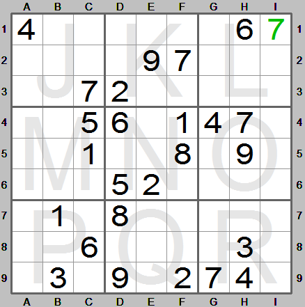 digit 7 entered in square i1 in sudoku instructions program