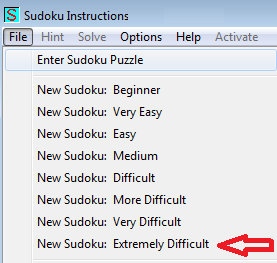 make new extremely difficult sudoku menu item in sudoku instructions program