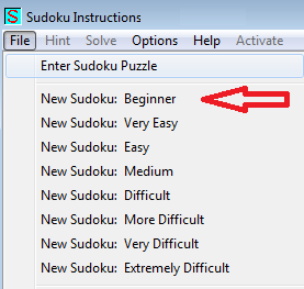 make new sudoku for beginners menu item in sudoku instructions program