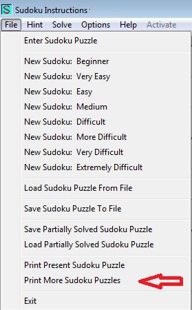 print more sudoku puzzles in sudoku instructions program